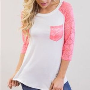 Pink Lace 3/4 Sleeve
